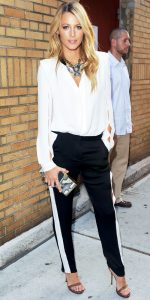 Blake lively in striped trousers similar to the Joseph Ribkoff release